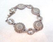 Sterling Silver Marcasite Flower Link Vintage Bracelet