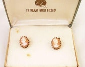 12 K GF Shell Cameo earrings in original box