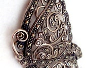 Stunning Sterling Silver Marcasite Butterfly Pin