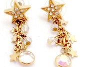 Kirks Folly Dangling Star and Crystal Earrings