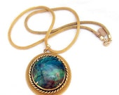 Azurite Chrysocolla Cuprite Gemstone Pendant Necklace
