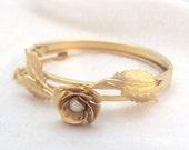 Delicate Rose Flower Bangle Bracelet