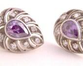 Silver Amethyst Rhinestone Pierced Earrings