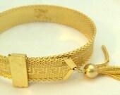 Vintage Buckle Bangle Bracelet with Tassel