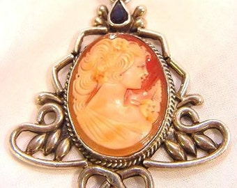 Sterling Silver Shell Cameo Pendant with Garnets and Amethysts OOAK