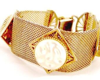 Wide Mesh Faux Baroque Pearl Bracelet