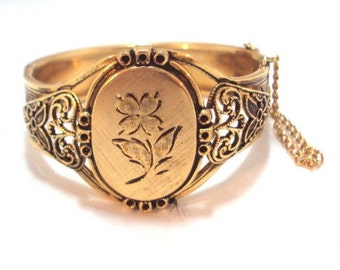 Engraved Floral Plaque Hinged Victorian Style Bracelet