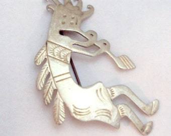 Kokopelli Sterling Silver Pin Native American