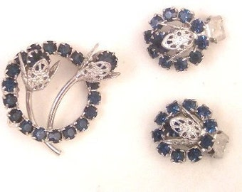 Blue Rhinestone Filigree Pin Set