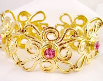 Vintage Wide Rose Rhinestone Bracelet Avon.