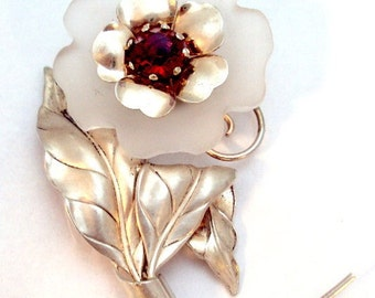 Sterling Silver Glass Flower Pin by Carl Art