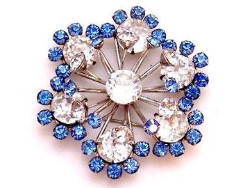 Sterling Silver Clear Blue Rhinestone Pin / Pendant