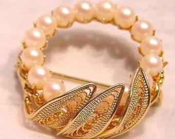 Elegant Circle of Faux Pearl Pin, Brooch by HOBE
