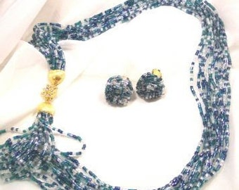 Aqua Clear Glass Strand Necklace and Earrings
