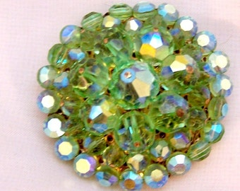 Vintage Green Crystal Rhinestone Domed Pin - 50's