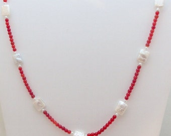 Red Glass Mother of Pearl Necklace