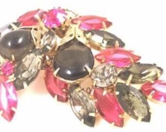 Vintage Rose, Smoke Rhinestone Vintage Pin / Brooch