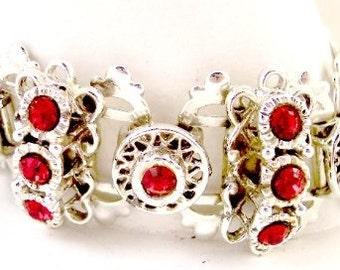 Red and Green Vintage Rhinestone Bracelet