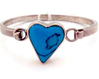 Taxco Turquoise Heart Sterling Silver Bangle Bracelet