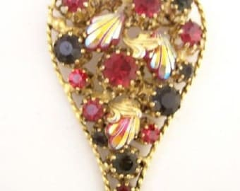 Heart Shaped Autumn Rhinestone Vintage Pin Austria