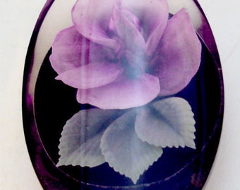 Pansy Embedded Lucite Vintage Pin