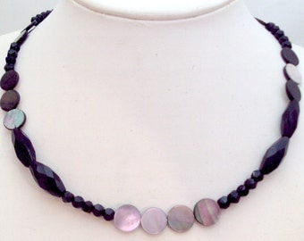 Simple Black Bead Abalone Necklace