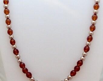 Cognac Crystal and Bronze Swarovski Crystal Pearl Necklace