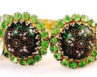 Green Rhinestone Vintage Clamper / Bracelet with Etched Center Stones