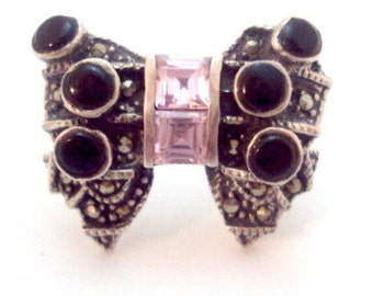 Sterling Silver Onyx Pink Crystal BOW Marcasite Ring