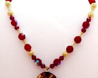 Venetian Glass Pendant Glass Bead Necklace