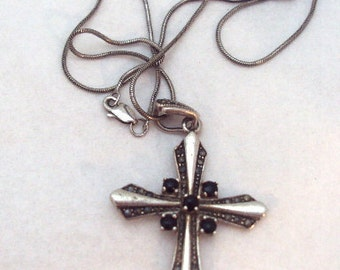Sterling Silver Onyx Cross Pendant Necklace