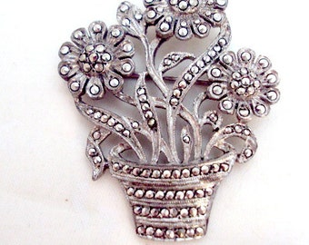 Sterling Silver Marcasite Vintage Pot of Flowers Pin Brooch