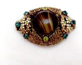 West German Art Glass, Rhinestone Enamel Flower Pin Brooch