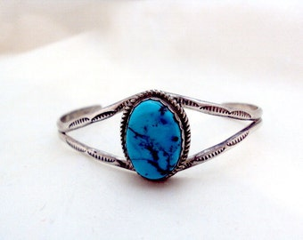 Turquoise Sterling Silver Cuff Signed DT for Delores Toldeo Native American