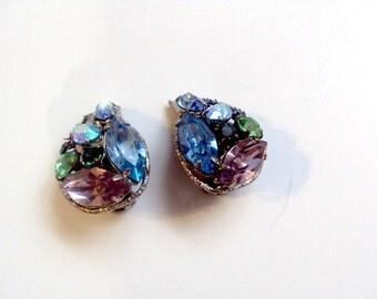 Colorful Vintage Rhinestone Earrings