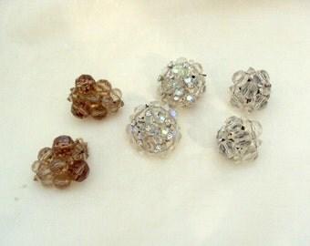 3 Pair of Vintage Crystal Clip Earrings