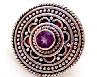 Ornate Sterling Silver Amethyst Ring