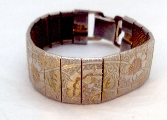 Wide Flower Tri Goldtone Engraved Bracelet