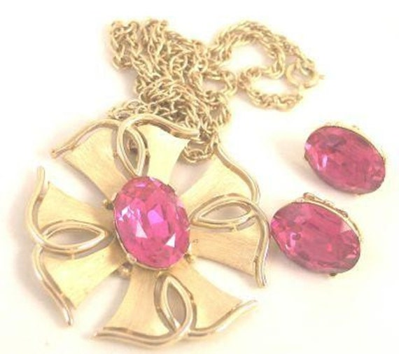 RESERVED  Crown Trifari Fuchsia Rhinestone Maltese Cross Brooch Earrings