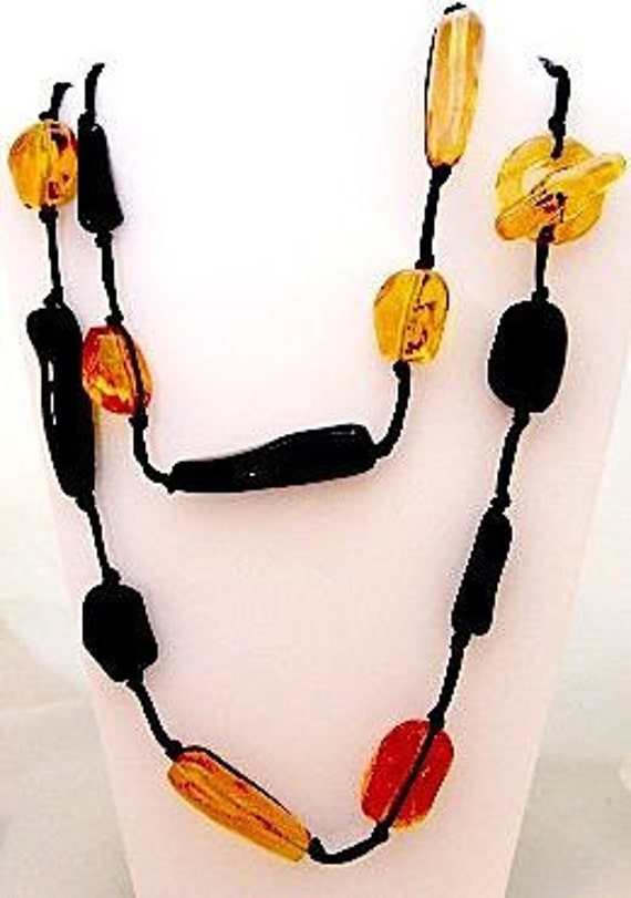 Gerda Lynggaard Long OAK Bead Necklace 80's
