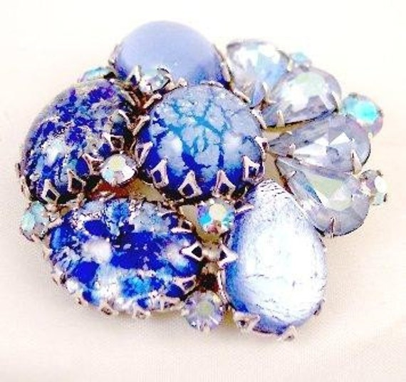 Spectacular Blue Silver Confetti Pin -----Vintage