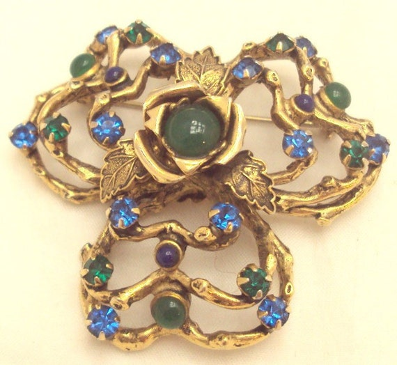 Free Form Green, Blue Rhinestone Cabochon Pin by Robert of New York