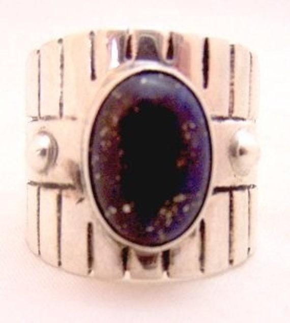 Wide Sterling Silver Black Goldstone Vintage Ring