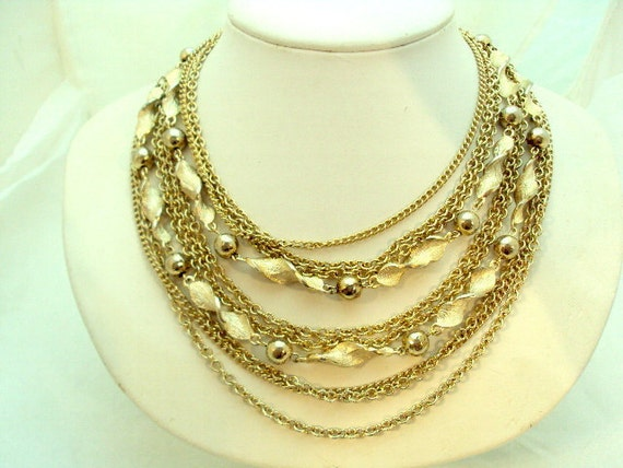Gorgeous Goldtone Multi Chain Necklace By Kramer