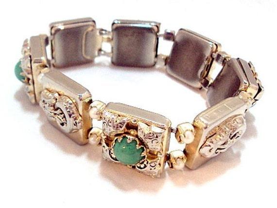 Vintage Slide Bracelet- Green Cabochon Faux Pearls