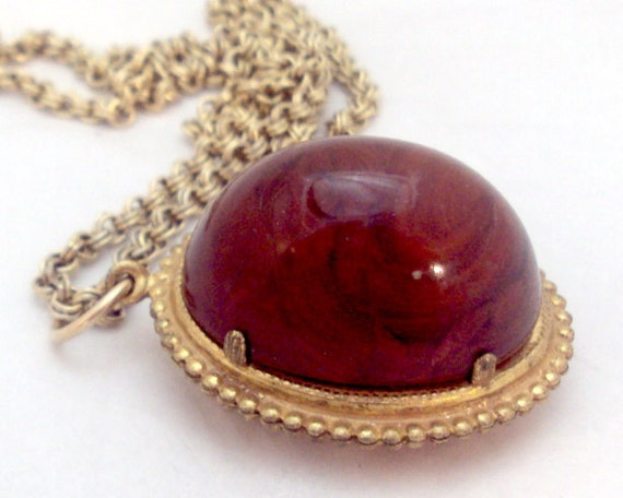 Interesting Double Stone Long Necklace, Pendant