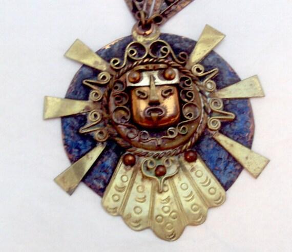 Ethnic Sun God Pendant Necklace Brass Copper