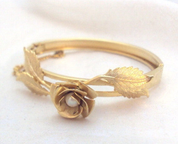 Delicate Rose Flower Bangle Bracelet