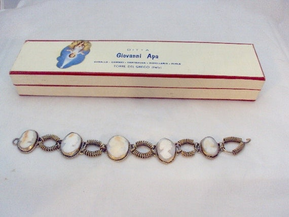 5 Cameo's Link Vintage Bracelet From Italy