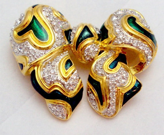 RESERVED Large Collectible Rhinestone Enamel Bow Pin KJL
